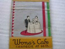 1930's Wong's Cafe Chinese & American Carnegie at 96th Nyc Ny Bobtail Matchcover