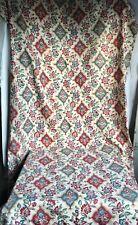 "19C Antique Fabric Mattress Cover French Cretonne Textile Jacobean Style 67""x28"""