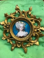 Antique vintage French enamel painting miniature 18th century costume lady 1920s