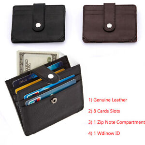 Slim Leather Credit Card Holder, Holds up to 8 Cards, Bank Notes and 1 ID Window