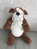 """IKEA GOSIG BULLDOG - Brown & White Puppy Dog - Soft Plush Cuddly Toy Teddy 14"""""""