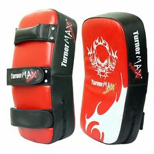 TurnerMAX Leather Thai Pads Boxing Strike MMA Red Black Curved Pair