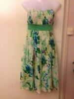 Ladies 10 MONSOON STRAPLESS  DRESS GREEN BLUE FLORAL PRINT SILK Prom Party B1