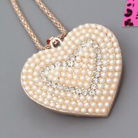 Betsey Johnson Women's Crystal Pearl Love Heart Pendant Sweater Chain Necklace