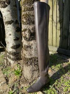 Cool tall  brown thigh boots with detailing by Jean Gaborit -Boots for guys 44.