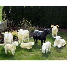8 große SCHAFE - Schafbock FAMILIE Deko Garten Tier Figuren BAUERNHOF Dekoration