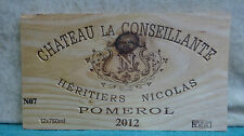 2012 CHATEAU LA CONSEILLANTE HERITIERS NICHOLAS POMEROL WOOD WINE PANEL END