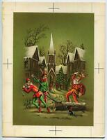 VINTAGE CHRISTMAS COURT JESTER SCOTTY DOG ENGLISH VILLAGE TREE CHURCH PAINTING