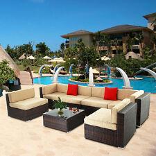 Rattan Sectional Furniture 7 Pcs Sofa Garden Outdoor Patio Pe Wicker Cushioned