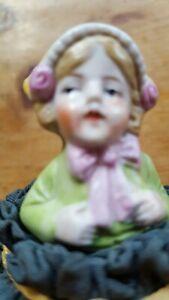 Vintage German  pincushion half doll small child in cap Carl Schneider 1920s