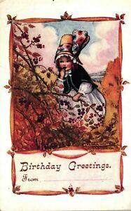 Flora White Postcard C1920 Cute Child Picking & Eating Blackberries Birthday