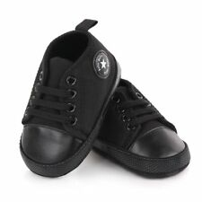 New Black Baby Shoes Anti-Slip First Walkers Canvas Sneakers Cotton Crib Shoes