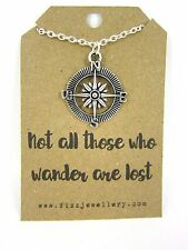 "Silver Compass Necklace ""Not All Those Who Wander Are Lost"" Message Card Gift"