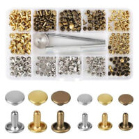 180Pcs/Set Leather Rivets Double Cap Rivet Tubular Metal Studs With Fixing Tools