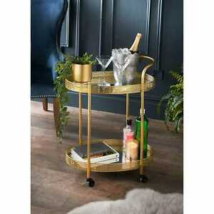 2 Round Glass Tire Gold Glamour Drinks Trolley With 4 Black Wheel Metal Art Deco
