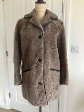 Teddy Sheepskin Jacket Shearling Coat Lambskin Brown Nut S/M UK10/12 38/40 US6/8