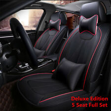 Universal Deluxe Edition Car Seat Cover Front+Rear 5-Seats PU Leather w/ Pillows