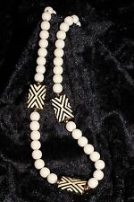 Napier Necklace white beads and pillow beads on gold tone chain Vintage