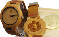 ROYAL ENGINEERS Crest Wooden Designer Watch Real Genuine Leather Crested Army