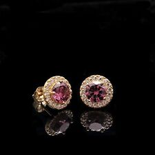 2CT Halo Lt. Amethyst & Diamond Simulated Stud Round Earrings 14k Yellow Gold