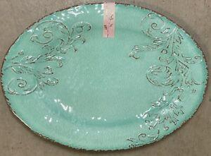 Aphorism Aqua Green Rustic Floral Print MELAMINE Large Serving Tray Platter