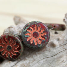 2pcs 22mm Sun Coin Chunky Table Cut / Pressed Czech glass beads - Unique
