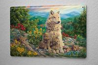 Tin Sign Kitchen Decor Wolves meadow mountains