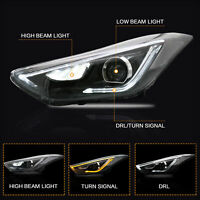 Projector LED Headlights w/ DRL Dual Beam for Hyundai Elantra 2011-2016 Sedan