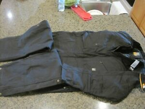 Berne Men's Large 44 46 Duck twill Deluxe Insulated Coveralls 1417BK Black
