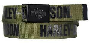Harley-Davidson Men's Fasten Up Adjustable Slide Buckle Cotton Belt - Army Green