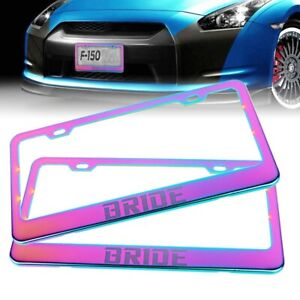 x2 UNIVERSAL BRIDE Neo Chrome Stainless Steel License Plate Frame With Screw Cap