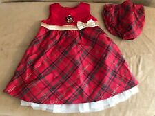 6/9 months Disney red plaid infant dress minnie mickey mouse mistletoe christmas