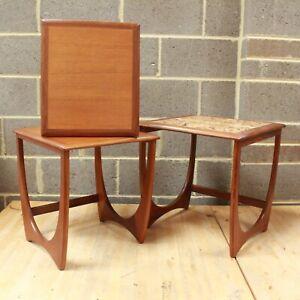 G Plan Nest of 3 Tables Mid Century Danish TEAK Wood Tile Effect Top 1960s - 254