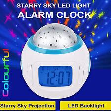 Reloj Despertador Nueva música LED Star Sky Proyección Digital Calendario Termómetro Kids