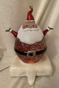 Dillard's Trimmings Santa Stocking Holder Swirling Glitter Light Up Globe