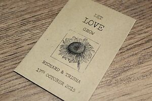 Personalised Seed Packets Envelopes Wedding Favours Vintage Sunflower