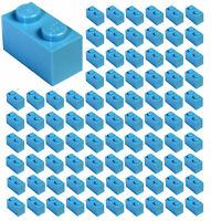 ☀️100x NEW LEGO 1x2 Dark Azure Blue Bricks (ID 3004) BULK Parts Friends Sky