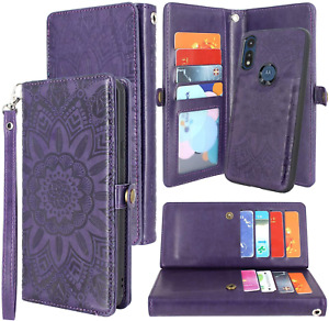 Motorola Moto E 2020 Premium Leather Wallet Case Magnetic Detachable Flip Folio