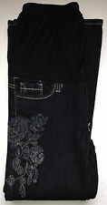 NEW Maternity Clothes Dark Jean Petite with Flower Stitch Small Pregnancy Pants