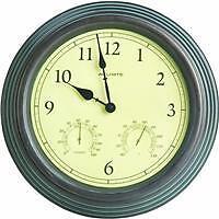 """15"""" Indoor Outdoor Quartz Copper Clock thermometer Hygrometer 01063"""