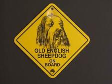 Old English Sheepdog On Board Dog Breed Yellow Car Swing Sign Gift