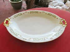 "LIMOGES B&H BLAKEMAN HENDERSON BLH56 oval serve plate 16"" GREEK KEY GOLD SWAGS"