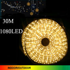 30M 1080 LED Warm White Color Rope Lights 3 Wire With 8 Function Controller