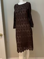 Talbots 3/4 Sleeve Brown Damask Embroidered Overlay Midi Dress ~ Women's Size 6