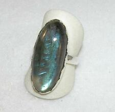 Labradorite Long Oval Ring Scalloped Band Sterling Silver Size 8