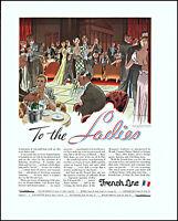 1933 Leslie Saalburg art French Line cruise S S Paris dance vintage print ad XL2