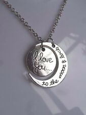Silver 'I Love You To The Moon & Back' 2 Piece Moon & Sun Pendant Necklace