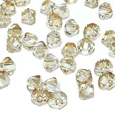 SCB328f GOLDEN SHADOW Swarovski Crystal 4mm Xilion Faceted Bicone Beads 48/pkg