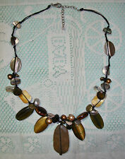 SILPADA N2009 Natural Stone Tiger's Eye, Pearl Shell NECKLACE Browns & Gold