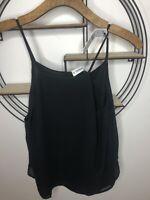 Ladies Pull & Bear Black Strappy Chiffon Cami Top- Medium- BNWT